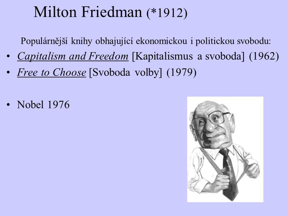 Milton Friedman (*1912) Populárnější knihy obhajující ekonomickou i politickou svobodu: Capitalism and Freedom [Kapitalismus a svoboda] (1962)